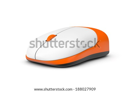 Simple wireless computer mouse on a white background - stock photo