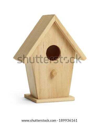 Simple Wooden Bird House with Perch Isolated on White Background. - stock photo
