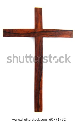 Simple wooden Christian cross isolated over white - stock photo