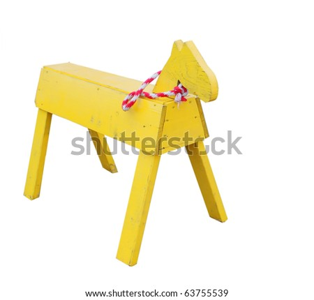 Simple wooden horse - stock photo