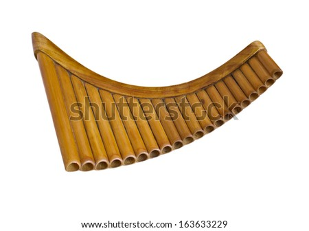 Simple wooden Pan Flute Isolated on white - stock photo