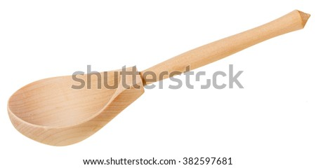 simple wooden spoon isolated on white background