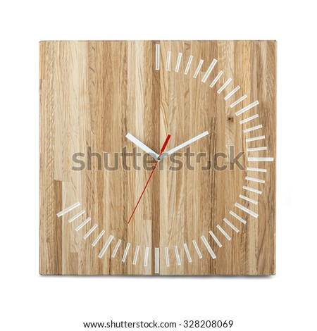 Simple wooden wall watch - clock isolated on white background - stock photo