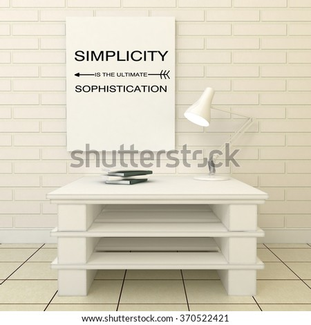 Simplicity is the ultimate sophistication quote print. Scandinavian, minimalistic style home interior decoration. 3d render - stock photo