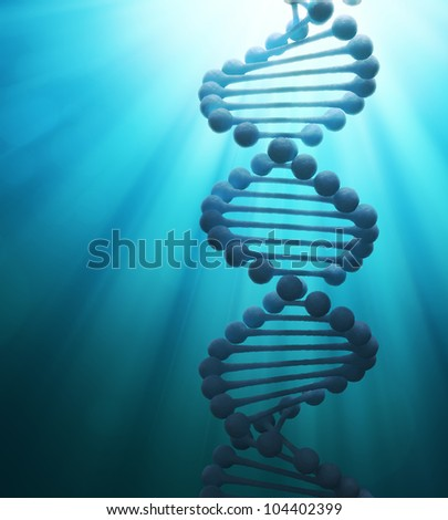 Simplified DNA double helix strand model - stock photo