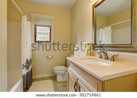 SImplistic bathroom with decorative shower curtain, and large framed mirror.