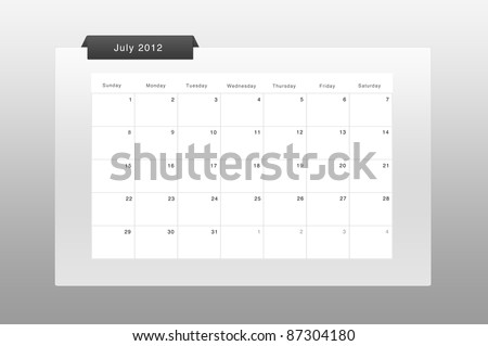 simply calendar & organizer july 2012 - stock photo