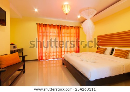simply contemporary bedroom at Banana Garden Beach, Koh lanta, Krabi, Thailand. - stock photo