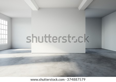Simply interior in loft style with concrete floor, and white walls. 3d rendering