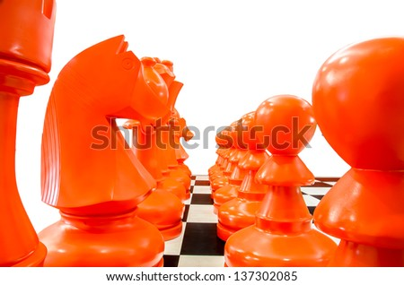 Simulate chess with isolated background - stock photo