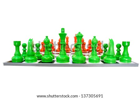 Simulated chess with isolated background - stock photo