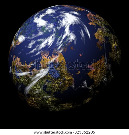 Simulated Earth type planet with texture surface on black background - stock photo