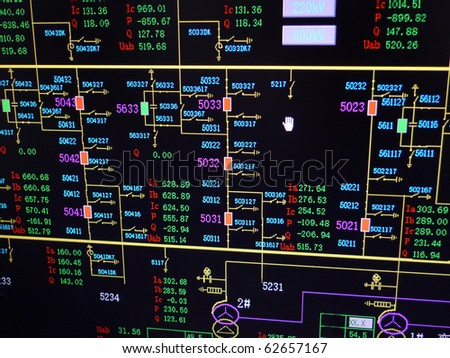 Simulation electric transformer substation on monitor. Electric supervisory control and data acquisition. - stock photo