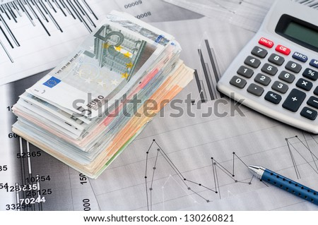 Simulation financial analysis with euro notes - stock photo