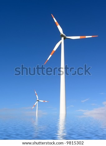 Simulation of flooding waters around wind generators due to global warming