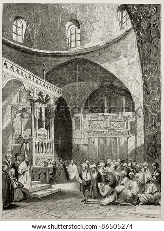 Sinagogue interior old illustration, Jerusalem. By unidentified author, published on Magasin Pittoresque, Paris, 1843 - stock photo