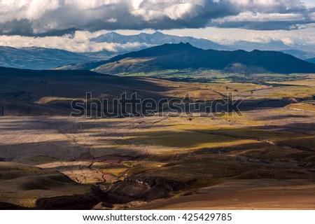 Sinchulagua Volcano range, Andean Highlands of Ecuador, South America - stock photo