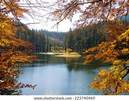 Sinevir lake in the Carpathian Mountains. Autumn landscape - stock photo
