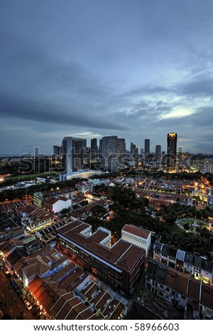 Singapore - An area view of Kampong Glam overlooking the Central Business District.
