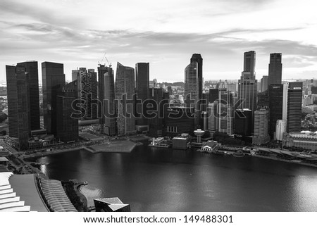 SINGAPORE - APRIL 15: A view of city from roof Marina Bay Hotel (b/w photo) on April 15, 2012 on Singapore. This hotel is billed as the world's most expensive standalone casino property at $8 billion.
