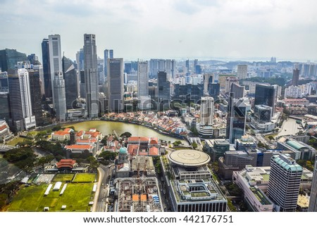 SINGAPORE - APRIL 07: Cityscape of singapore in the daytime at 7 of April 2014. Aeriel panorama of Singapore city - stock photo