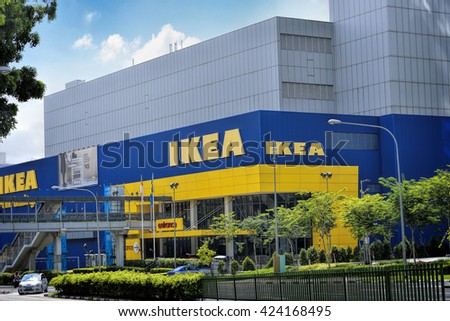 SINGAPORE - APRIL 26, 2016: Day view of IKEA Alexandra Store. The company is the worlds largest furniture retailer. close to Queenstown MRT (EW19) and Redhill MRT(EW18) stations.
