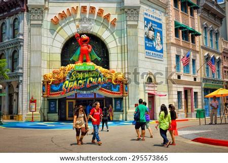 SINGAPORE - APRIL 18, 2015: Day view of Universal Spaghetti Space Chase facade. Universal Studios Singapore is theme park located within Resorts World Sentosa, Singapore. - stock photo