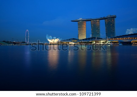 SINGAPORE- APRIL 20: Marina Bay Sands on April 20, 2012 in Singapore. It is projected to stimulate about 0.8% to Singapore's Gross Domestic Product by 2015, employing 10,000 people.