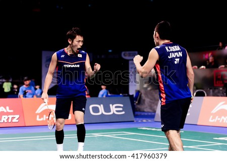 Singapore - 14 April 2016: Mens doubles Takeshi Kamura and Keigo Sonoda of Japan versus Danny Bawa Chrisnanta and Hendra Wijaya of Singapore in OUE Singapore Open 2016 round of 16.