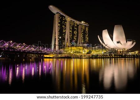 SINGAPORE - April 12 : Night-time view of Marina Bay Singapore on April 12, 2014 - stock photo