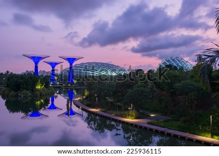 SINGAPORE - April 24:Night view of Supertree Grove at Gardens by the Bay on April 24, 2014 in Singapore. Spanning 101 hectares of reclaimed land in central Singapore, adjacent to the Marina Reservoir. - stock photo