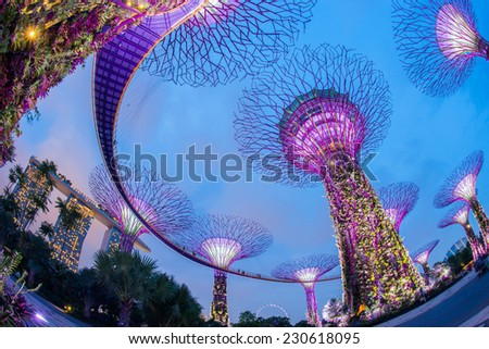 SINGAPORE- April 25: Night view of The Supertree Grove at Gardens by the Bay on April 25, 2014 in Singapore. Spanning 101 hectares, and five-minute walk from Bayfront MRT Station. - stock photo