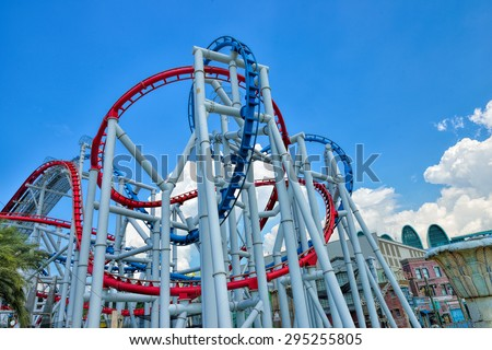SINGAPORE - APRIL 18: Roller coaster in Universal Studios Singapore at Singapore Resorts World Sentosa on April 18, 2015.