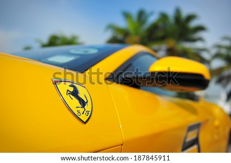 SINGAPORE - APRIL 12: Singapore Ferrari Club Owners showcasing their Ferrari cars during Singapore Yacht Show at One Degree 15 Marina Club Sentosa Cove April 12, 2014 in Singapore - stock photo