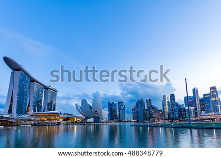 Singapore - April,2015: Skyscrapers at  Singapore Marina bay area. Marina Bay is a bay located in the Central Area of Singapore.