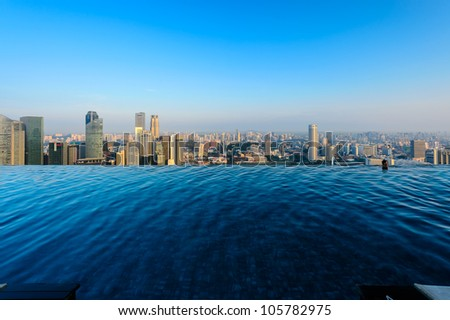 SINGAPORE - APRIL 5:Swimming pool of the Marina Bay Sands on April 5 , 2012 in Singapore. It's the world's most expensive standalone casino property at US$ 6.3 billion. - stock photo