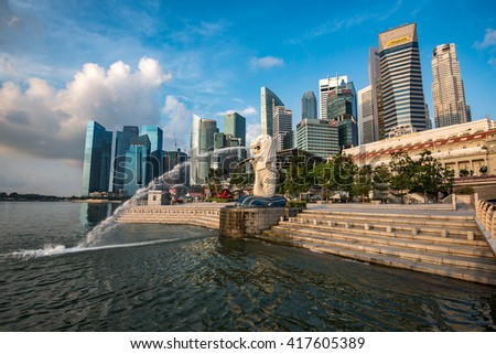 SINGAPORE - APRIL 19th, 2016 : The Merlion is a traditional creature with a lion head and a body of a fish, seen as a symbol of Singapore. - stock photo