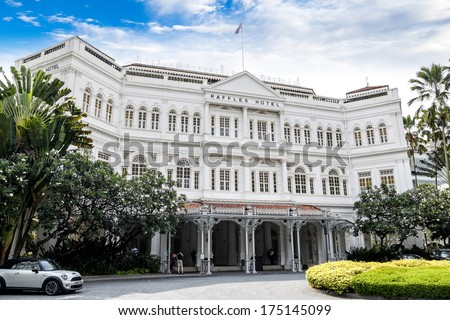 SINGAPORE- April 6: The colonial-style Raffles Hotel in Singapore April 6, 2011. The hotel is one of the most famous icons of Singapore established in 1899. - stock photo