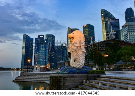 SINGAPORE - APRIL 19,2016 : The Merlion is a traditional creature with a lion head and a body of a fish, seen as a symbol of Singapore.