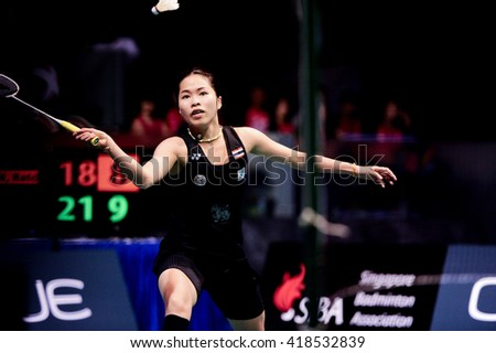 Singapore - 17 April 2016: Womens singles Ratchanok Intanon of Thailand versus Sun Yu of China in OUE Singapore Open 2016 finals.
