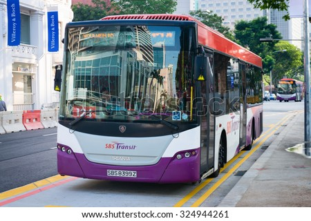 SINGAPORE - 07 AUG 2015: City bus, operated by SBS Transit on the Moulmein Road route in downtown Singapore.