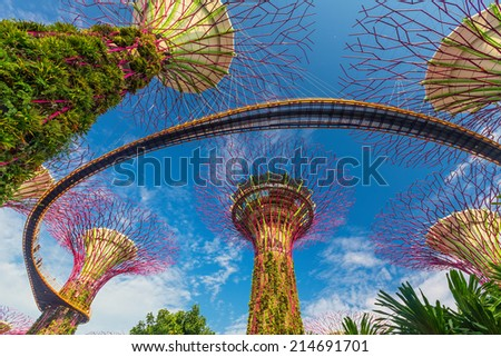 Garden By The Bay August 2014 singaporesep 01 merlion fountain front marina stock photo