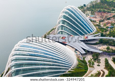 SINGAPORE - 07 AUG 2015: Enormous Domes of Gardens by the Bay in Singapore, two enormous greenhouses comprise a major part of this popular public park. - stock photo