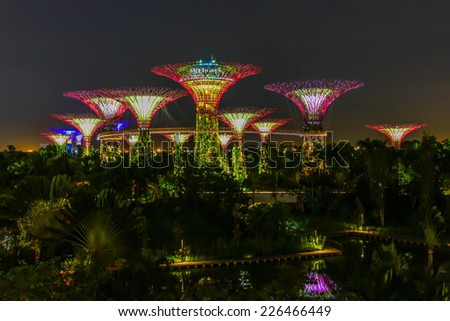Garden By The Bay August 2014 singapore nov 6 night view supertree stock photo 460699387