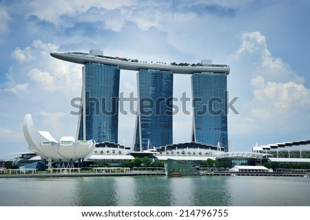 SINGAPORE - AUG 30: The Marina Bay Sands Resort Hotel on Aug 30, 2014 in Singapore. It is an integrated resort and the worlds most expensive standalone casino property at S$8 billion.