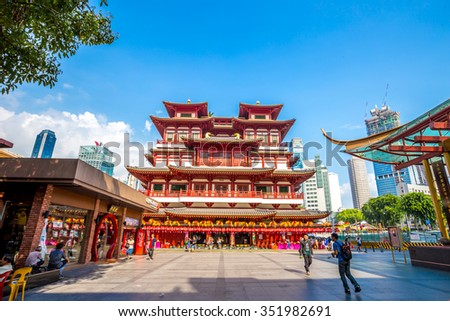 SINGAPORE - August 29 : Buddha Toothe Relic Temple in Chinatown Singapore on August 29, 2015 in Singapore