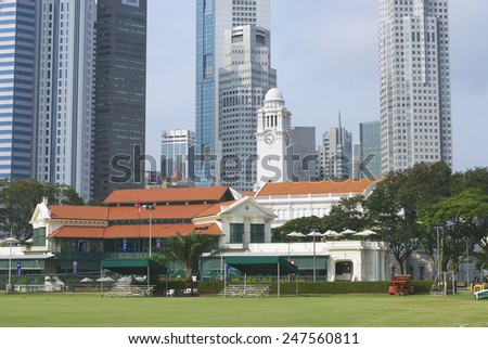 SINGAPORE - AUGUST 05, 2008: Exterior of the colonial buildings and modern architecture on August 05, 2008 in Singapore.  - stock photo