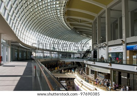 SINGAPORE-AUGUST 21: Marina Bay Sands Resort Hotel on August 21, 2011 in Singapore. It is  the world's most expensive  casino property at S$8 billion. - stock photo