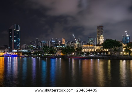Singapore - August 20: Night landscape of the Singapore business area on August 20, 2014 in Singapore.