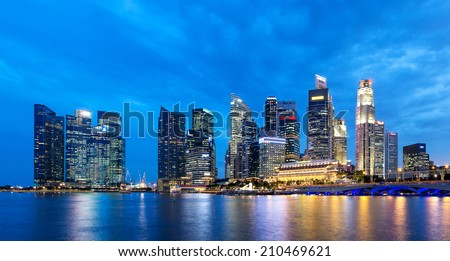 SINGAPORE - AUGUST 07: Panorama  landscape of Singapore. Skyline and modern skyscrapers of business district Marina Bay Sands at most financial developing Asian city state. Singapore, AUGUST 07, 2014